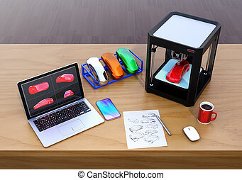 3D printer, laptop and product color samples. CMF(Color,...