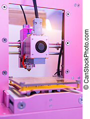3D printer on a pink background