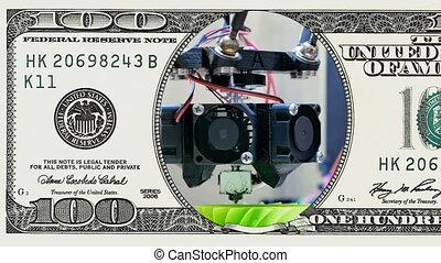 3D printer performs in frame of 100 dollar bill - 3D printer...