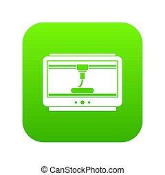 3D printer printing cup icon digital green
