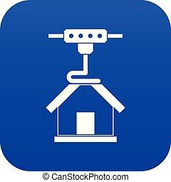 3d printer printing house icon digital blue