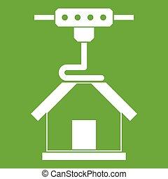 3d printer printing house icon green
