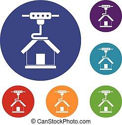3d printer printing house icons set