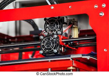 3d printer printing. Close up process of new printing...