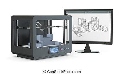 3d, printer, van, schets, om te, prototype