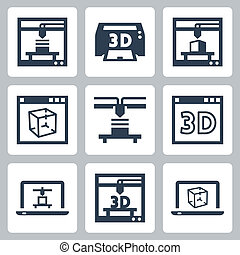 3D printer vector icons set