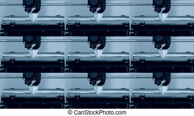 Automatic three dimensional 3d printer performs plastic. -...