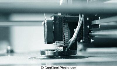 Modern 3D printer printing an object from the hot molten. -...