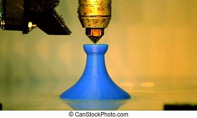 3D printer working. Fused deposition modeling, FDM. 3D...