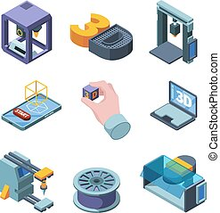 3d printing. Engineers planning buildings projects 3d modelling on smart printers garish vector isometric pictures set isolated