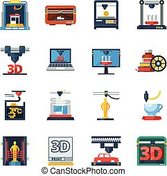 3D Printing Flat Icons Collection