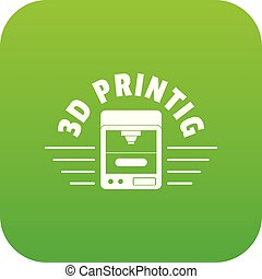 3d printing icon green vector