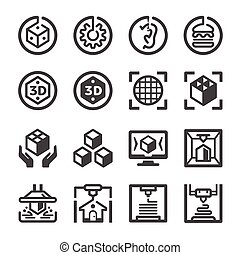 3D printing icon set, vector and illustration