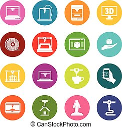 3D Printing icons many colors set