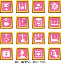 3D Printing icons pink