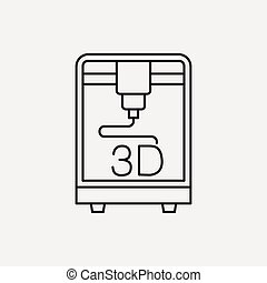 3D printing line icon