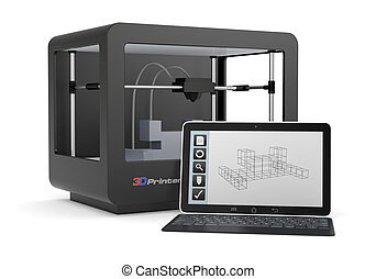 3D printing - one 3d printer with a computer and a cad...