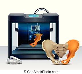3d printing of human bones realistic composition vector illustration