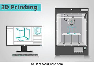 3D Printing with computer - 3D printer printing a cyan...
