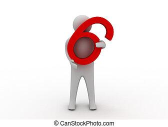 3d, prise, six, homme