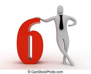 3d, prise, six, nombre, homme