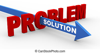 3d problem and solution - 3d render of word problem and ...