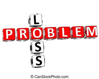Problem Loss Crossword - 3D Problem Loss Crossword on white...