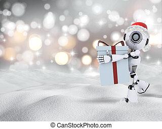 3d, proceso de llevar, regalo de navidad, robot