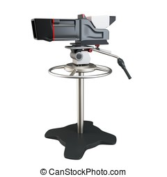 3d  professional tv film camera on white background