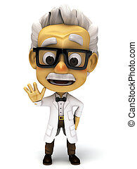 3d Professor looking mad - 3d render cartoon professor...
