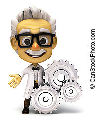 3d Professor with a gear - 3d render cartoon professor...
