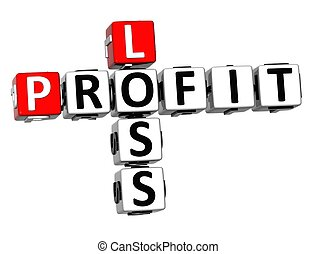 3D Profit Loss Crossword on white background