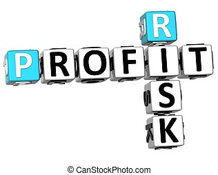 3D Profit Risk Crossword on white background