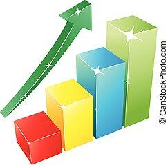3D Progress Bar graph - Vector illustration of colorful bar...
