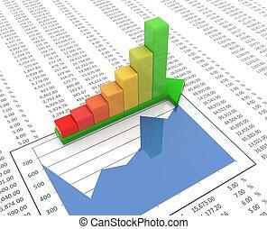 3d progress bar on spreadsheet background - 3d reflective...