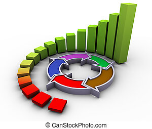 3d progress flow chart - 3d circular progress bars with flow...
