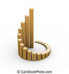 3d progress growth business chart