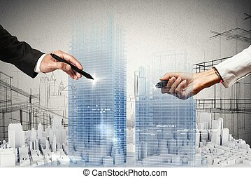 3D project - People business draws a project in 3D