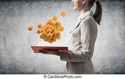 3d, projection, cubes, géométrique, femme