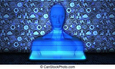 3d, projeté, aléatoire, données, bleu, ai/human, 8k, smartphone, binaire, hologramme, fond, rendu, couleur, icône, technologie, code, grand, plancher, ensemble
