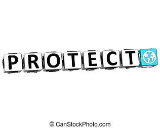 3D Protect Button Click Here Block Text
