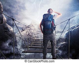 3d, przedstawienie, od, badacz, na, chwiejny, most
