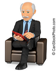 3D Psychologist sitting on a sofa working