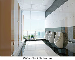3d public bathroom - modern design interior of stylish ...