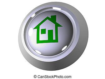 3d, pulsador, con, casa, símbolo