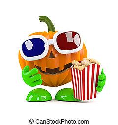 3d Pumpkin at the movie theatre