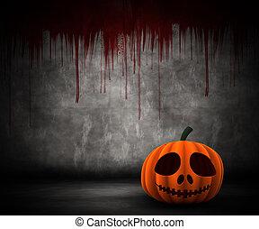 3D pumpkin in grunge blood splattered interior