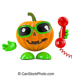 3d Pumpkin man answers the phone