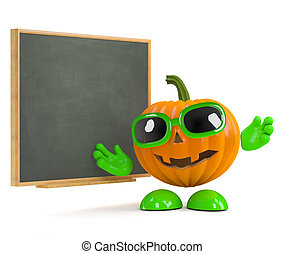 3d Pumpkin man at the blackboard