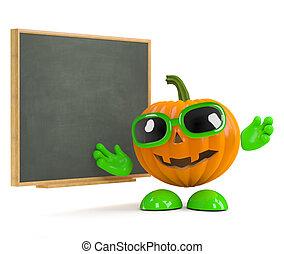 3d Pumpkin man at the blackboard